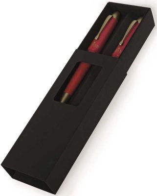 Steelpen Pearl Gold-Kırmızı Dolma Kalem-Tükenmez Kalem Set