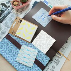 Stickn - Stickn Desenli Şeffaf Yapişkanlı Not Kağıdı Mavi 28034 (1)