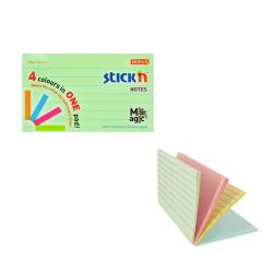 Stickn - Stickn Magic 4'lü Pastel Dikdörtgen Yapışkanlı Not Kağıdı 21578