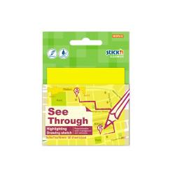 Stickn - Stickn Şeffaf Yapışkanlı Kare Not Kağıdı Neon Sarı 21709