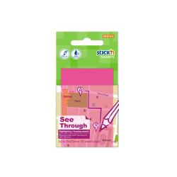Stickn - Stickn Şeffaf Yapışkanlı Not Kağıdı Neon Pembe 21707