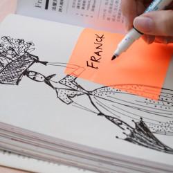 Stickn - Stickn Şeffaf Yapışkanlı Not Kağıdı Neon Turuncu 21706 (1)