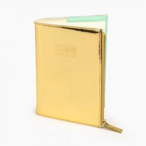 Syloon - Syloon A5 Fermuarlı Çizgili Defter Gold 8825