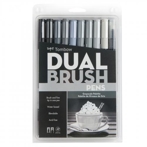 Tombow Dual Brush 10'lu Set Grayscale 1716