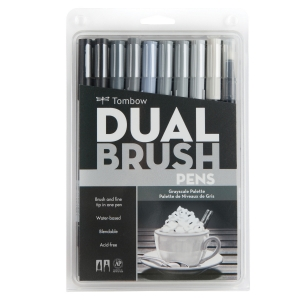 Tombow - Tombow Dual Brush 10'lu Set Grayscale