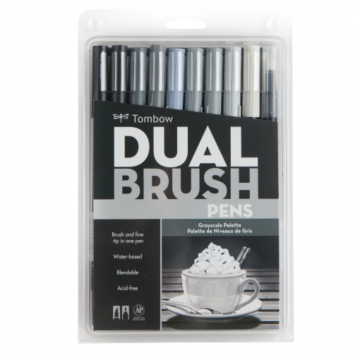 Tombow Dual Brush 10'lu Set Grayscale