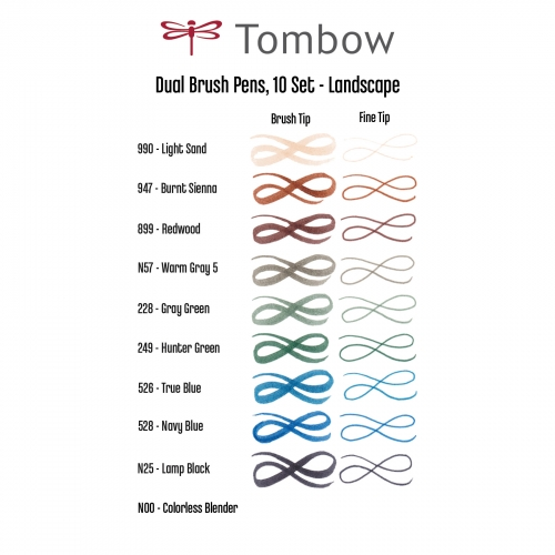 Tombow Dual Brush 10'lu Set Landscape 1693