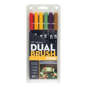Tombow - Tombow Dual Brush 6'lı Set Secondary Palette