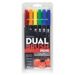 Tombow - Tombow Dual Brush 6'lı Set Primary Palette