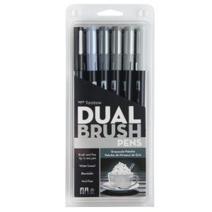 Tombow - Tombow Dual Brush 6'lı Set Grayscale Palette