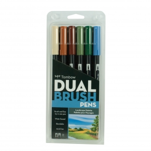 Tombow - Tombow Dual Brush 6'lı Set Landscape