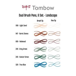 Tombow - Tombow Dual Brush 6'lı Set Landscape (1)