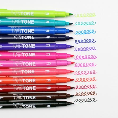 Tombow TwinTone 12'li Canlı Renkler Çift Uçlu Markör Seti 8877