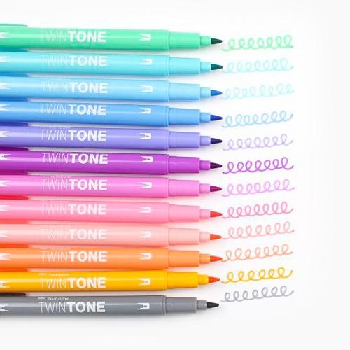 Tombow TwinTone 12′li Pastel Renkler İşaretleme Kalem Seti