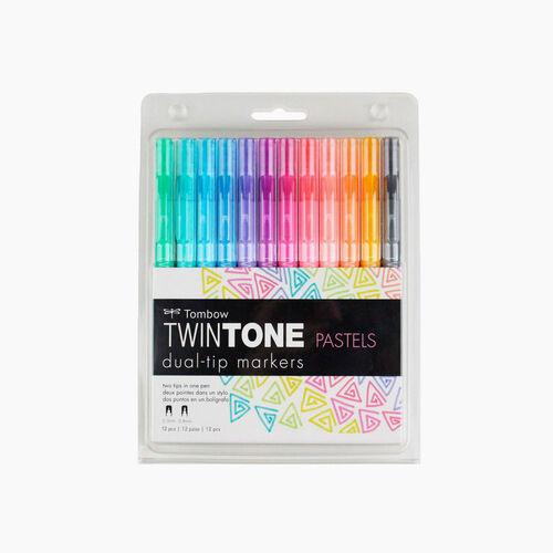 Tombow TwinTone 12'li Pastel Renkler Çift Uçlu Markör Seti 9188