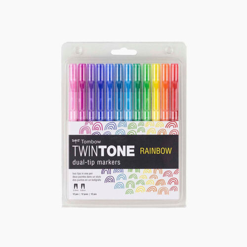 Tombow TwinTone 12'li Rainbow Renkler Çift Uçlu Markör Seti 5266