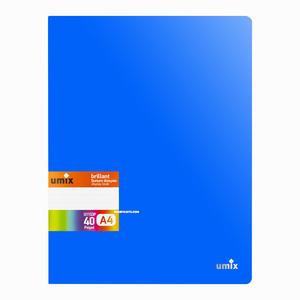 Umix - Umix Brilliant A4 40 Poşetli Sunum Dosyası Mavi U1153P 5283