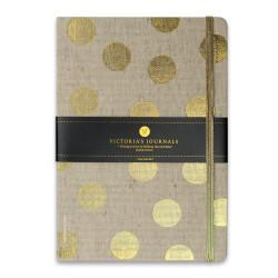 Victoria's Journals - Victoria's Journals Polka Brass 14X20cm 96 Yaprak Çizgili Defter