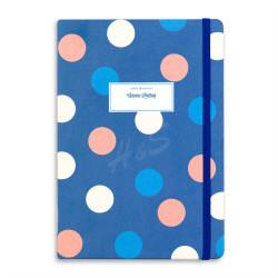 Victorias Journals - Victoria's Journals Trendy Dots Mavi Lastikli 14x20 cm Çizgili Defter 1127