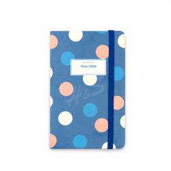 Victoria's Journals - Victoria's Journals Trendy Dots Mavi Lastikli 9x14 cm Çizgili Defter 1189