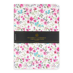Victoria's Journals - Victoria's Journals Felxy Bahar Serisi 14x20 cm Çizgili Planner Beyaz-Pembe