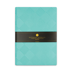 Victoria's Journals - Victoria's Journals Foil 14x20 cm Çizgili Defter Turkuaz Kareler