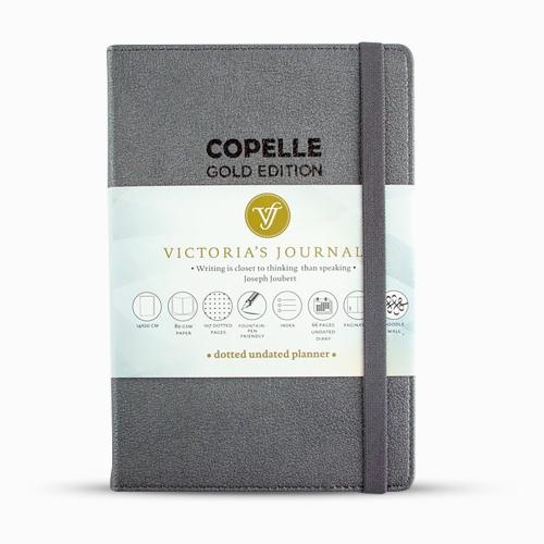 Victoria's Journals Copelle A5 Dot (Noktalı) 55 gr Dolma Kalem Uyumlu Journal Dark Grey
