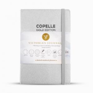 Victorias Journals - Victoria's Journals Copelle A5 Dot (Noktalı) 55 gr Dolma Kalem Uyumlu Journal Silver