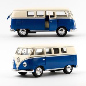 Volkswagen - Volkswagen 1962 Classical Bus Die Cast Çek Bırak Minibüs Mavi 1436