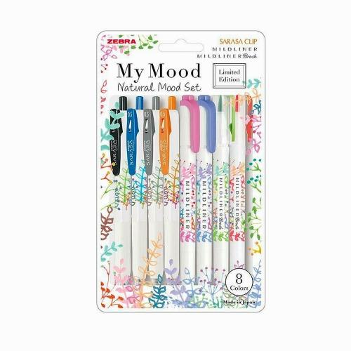 Zebra Limited Edition Naturel Mood Set - Sarasa Clip - Mildliner - Mildliner Brush 4219