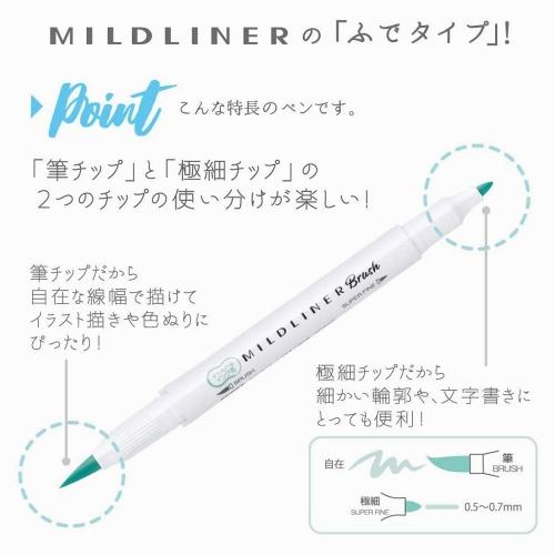Zebra Mildliner Brush Çift Taraflı Fırça Uçlu Kalem Seti Soğuk Renkler 4924