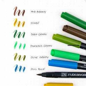 Zig Kuretake - ZIG Fudebiyori Brush (Fırça Uçlu) Kalem 6 Renk HS Set 2 034-044-065-063-048-043 (1)