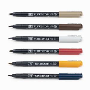 Zig Kuretake - ZIG Fudebiyori Brush (Fırça Uçlu) Kalem 6 Renk HS Set 6 038-061-260-091-062-096