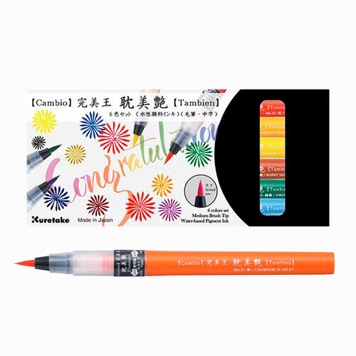 ZIG KURETAKE Cambio Tambien 6 Renk Large Tip Brush Kalem Set A 5364
