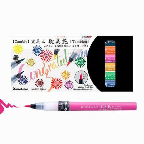 ZIG KURETAKE Cambio Tambien 6 Renk Large Tip Brush Kalem Set B 5371